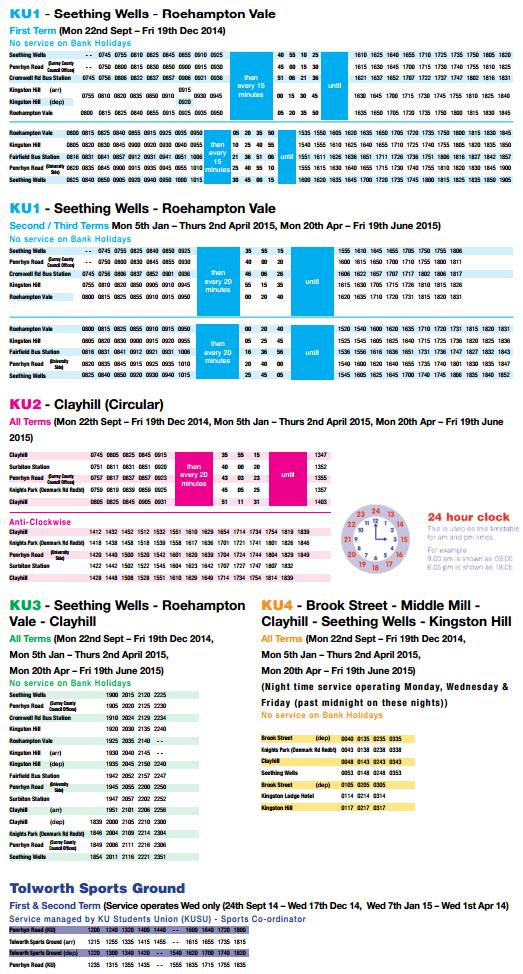 Intersite bus Timetable